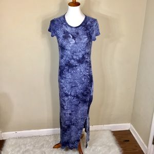 Michael Korda Blue Tie Die Linen Shirt Maxi Dress